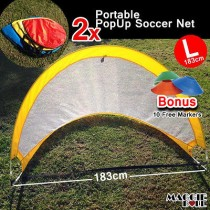 Blue SOCCER GOAL PAIR OF 183 CM POP UP GOALS PORTABLE